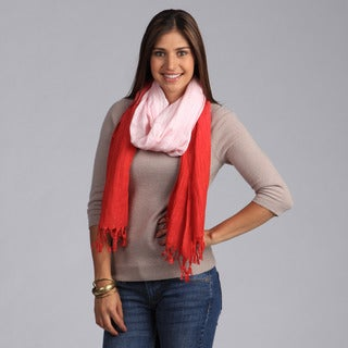Peach Couture Chic Red and Baby Pink Faded Ombre Cotton Scarf