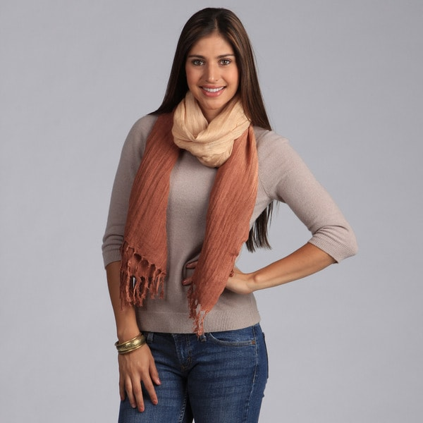 Peach Couture Chic Brown and Tan Faded Ombre Cotton Scarf