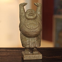 Handcrafted Soapstone 'Laughing Buddha' Sculpture (India)