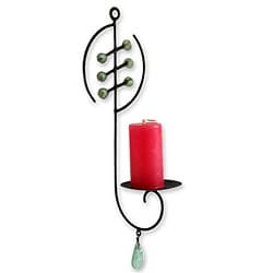 Iron and Recycled 'Ashanti Light' Glass Wall Candleholder (Ghana)