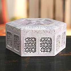 Handcrafted Soapstone 'Royal Palace' Jewelry Box (India)