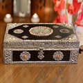 Mango Wood and Nickel-plated Brass 'Antique Flair' Jewelry Box (India)