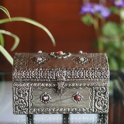 Mango Wood and Nickel-plated Brass 'Royal Coffer' Jewelry Box (India)