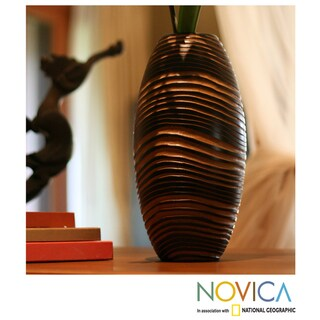 Handcrafted Mango Wood 'Golden Zebra' Vase (Thailand)