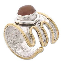Sterling Silver 'Charm' Brass Accent Carnelian Ring (India)