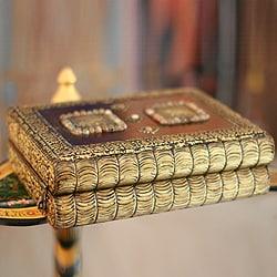 Mango Wood and Brass 'Elephant Heralds' Jewelry Box (India)