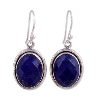 Sterling Silver 'Blue Destiny' Lapis Lazuli Earrings (India)