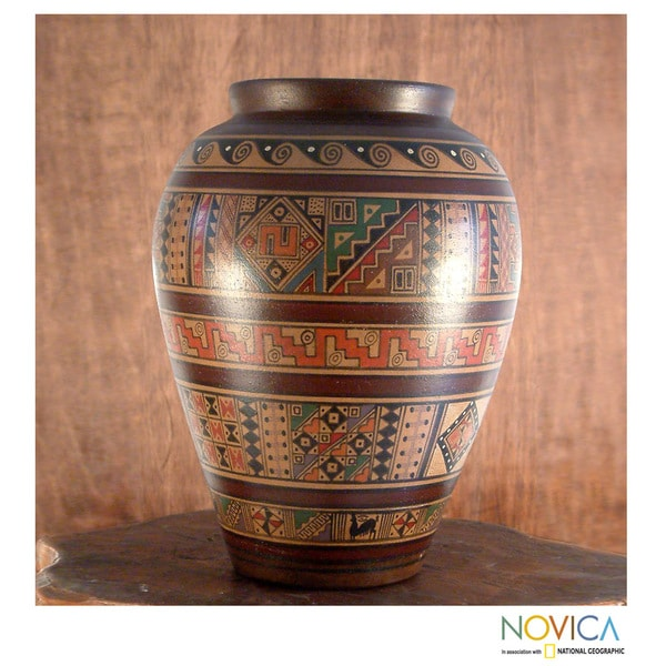 Handcrafted Ceramic 'Water Cult' Aged Cuzco Vase (Peru)