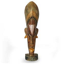 Handcrafted Sese Wood 'Beautiful Mind' Sculpture , Handmade in Ghana