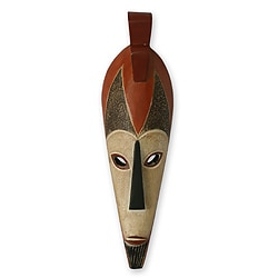 Handcrafted Sese Wood 'Stand Firm' African Mask (Ghana)