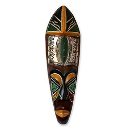 Handcrafted Sese Wood Beaded 'Fortunes' African Mask (Ghana)