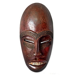 Handcrafted Sese Wood 'Senufo Rainmaker' African Mask (Ghana)