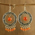 Sterling Silver 'Bright Dancers' Carnelian Earrings (India)