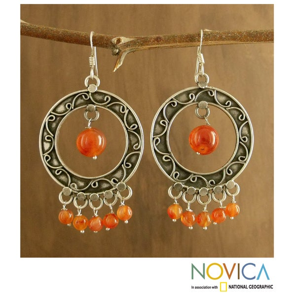 Sterling Silver 'Bright Dancers' Carnelian Earrings (India)