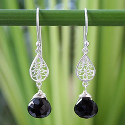 Handcrafted Sterling Silver 'Midnight Rain' Onyx Earrings (Thailand)