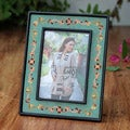Handcrafted Reverse Painted Glass 'Colonial Aqua' Photo Frame (Peru)