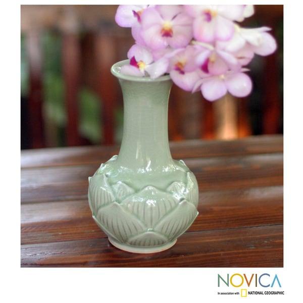 Handcrafted Celadon Ceramic 'Jade Lotus' Vase (Thailand)