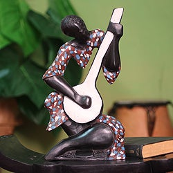 Handcrafted Sese Wood 'Song of Love' Sculpture (Ghana)