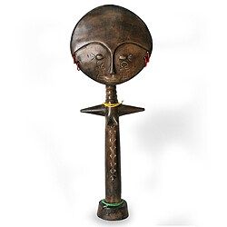 Handcrafted Sese Wood 'Mother of Twins' Fertility Doll (Ghana)