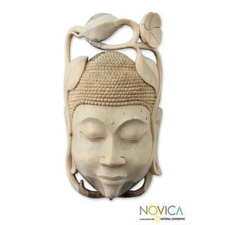 Handcrafted Hibiscus Wood 'Balinese Buddha' Mask (Indonesia)