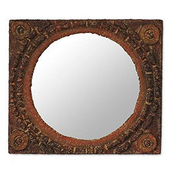 Handcrafted Sese Wood 'African Tradition' Mirror (Ghana)