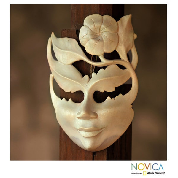 Frangipani Summer Vintage Modern Art Handmade Artisan Designer Home Decor Accent Natural Hibiscus Wood Gift Mask (Indonesia) 11142260