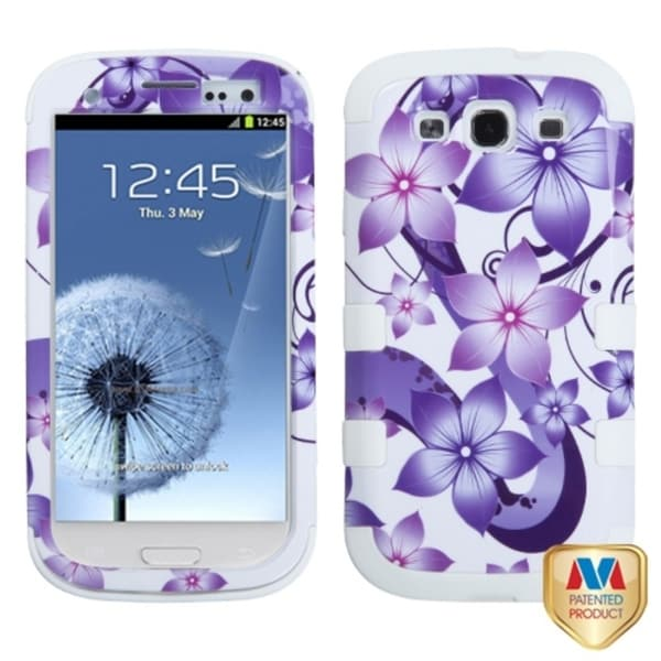 INSTEN Hibiscus/ White TUFF Hybrid Phone Case Cover for Samsung Galaxy S III/ S3