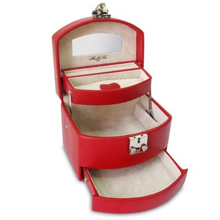 Laura Expandable Red Leather Jewelry Box