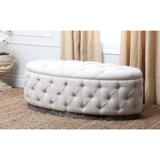 Abbyson Living Colin Beige Linen Tufted Ottoman Bench