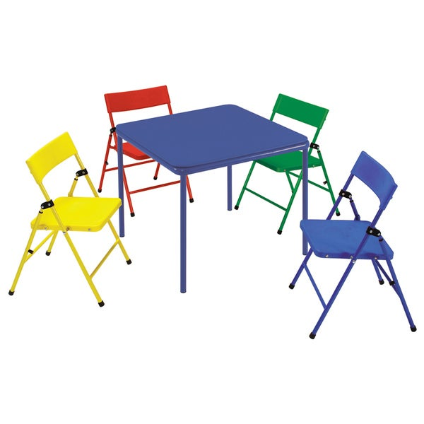 Cosco Kid 39 S 5 Piece Colored Folding Chair And Table Set