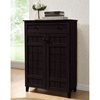 Baxton Studio Glidden Dark Brown Wood Tall Modern Shoe Cabinet