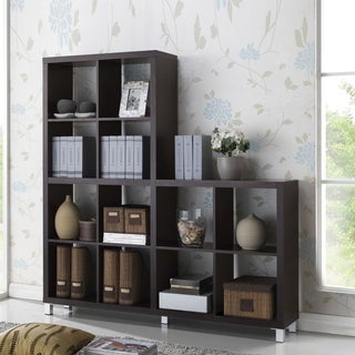 Baxton Studio Sunna Dark Brown Modern Cube Shelving Unit