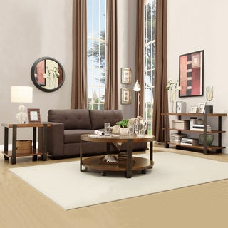 Tribecca Home Lawson Brass and Reclaimed Wood 3-piece Table Set
