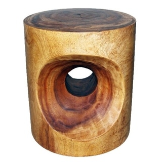 'Livo' Walnut Oil Carved Peephole End Table (Thailand)