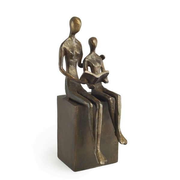 Woman & Child Reading Bronze Sculpture