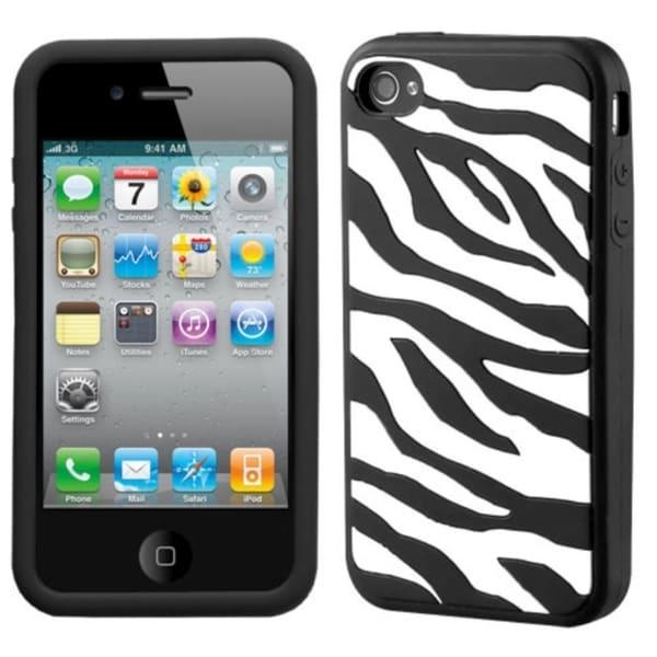 INSTEN Zebra/ Black Pastel Skin Phone Case Cover for Apple iPhone 4/ 4S