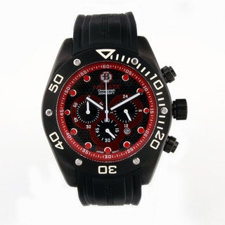 Bilette Men's Stainless Steel Black/ Red Dial Watch