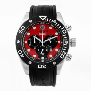 Bilette Men's Black/ Red Dial Chronograph Watch