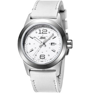 JBW Men's 'Magneto' Sapphire Crystal White Leather Strap Watch