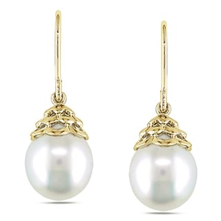 Miadora 14k Yellow Gold South Sea Pearl Drop Earrings (10-11 mm)