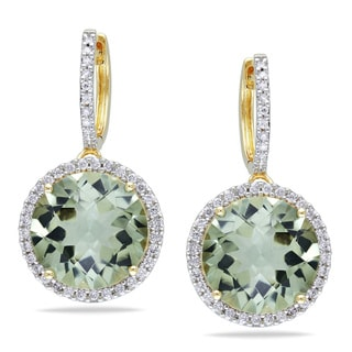 Miadora 14k Yellow Gold Green Amethyst and 1/2ct TDW Diamond Earrings (G-H, I1-I2)