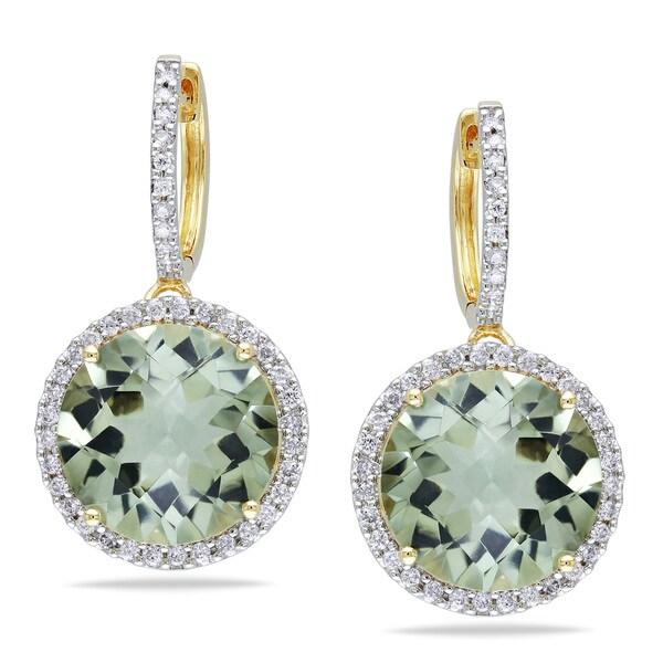 Miadora 14k Yellow Gold Green Amethyst and 1/2ct TDW Diamond Earrings (G-H, I1-I2)