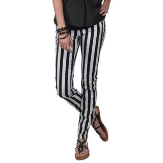 Journee Collection Juniors Stretchy Striped Skinny Pants