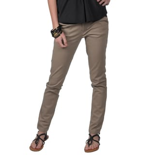 Journee Collection Junior's Light Brown Stretchy Skinny Pants
