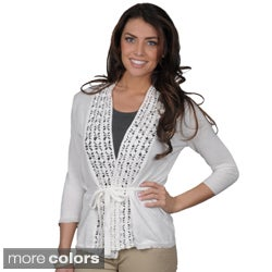 Erin London Women's Belted Open Front Crochet Trim Cardigan