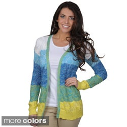 Spense Knits Women's Multi-color Long Sleeve Open Front Cardigan