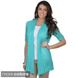 89th & Madison Women's Open Front Short-sleeve Crochet Cardigan