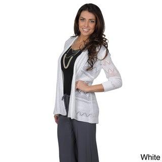89th & Madison Women's Open Front Half-sleeve Crochet Cardigan