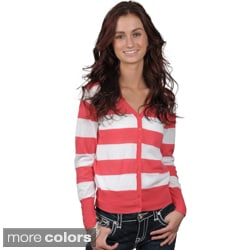 Journee Collection Juniors Striped Button-up Cardigan