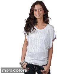 Journee Collection Juniors Studded Scoop Neck Top